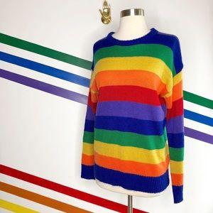 Nasty Gal rainbow acrylic sweater M/L